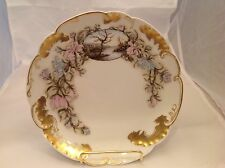 H&Co Limoges Vintage Signed Scalloped Handpainted Porcelain Serving Plate 1890