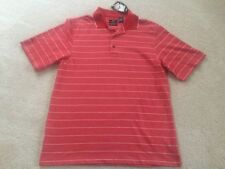 NEW mens size medium Pro Player Golf Polo Shirt Red White striped Poly/Cotton
