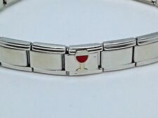 Bracelet Pugster Italian Charm White Red Wine Glass Link Stainless