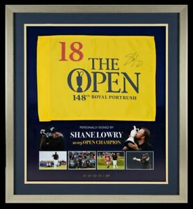 Shane Lowry SIGNED & Framed 2019 OPEN CHAMPIONSHIP PIN FLAG AFTAL COA (FTO)