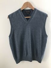 Brooks Brothers Knitted Blue V-Neck Sweater Vest 100% Lambswool Mens Size M