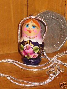 Russian Doll pendant necklace LILAC PURPLE Babushka Matryoshka silver chain