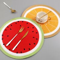 Set of 4/6 Indoor Outdoor Round Lemon Watermelon Fruit Dinner Partie Placemats