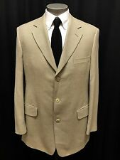 mens olive tan herringbone OAK CREEK jacket sport suit coat SILK WOOL soft 42 L