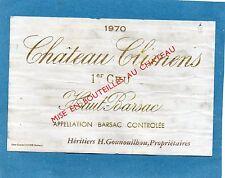 SAUTERNES 1E CRU VIEILLE ETIQUETTE CHATEAU CLIMENS 1970 73 CL RARE   §19/11/16§