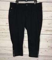 Women's Plus Size 22 Lane Bryant Black Cropped Capri Stretch Jeans