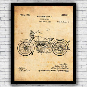 Harley Davidson Cycle Support Motorcycle Patent Print - Size and Frame Options