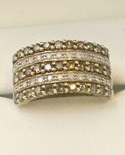 9ct Yellow Gold 1ct Champagne & White Diamond Band  Ring Size P