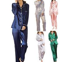 Women Silk Satin Pajamas Set Pyjama Sleepwear Lady Nightwear Loungewear Homewear