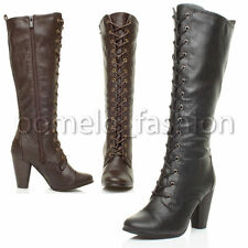 Zip High Heel (3-4.5 in.) Block Combat Boots for Women