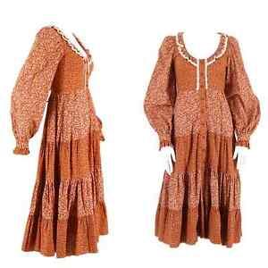 70s GUNNE SAX brown floral print cotton prairie peasant dress 9 vintage 1970s  9