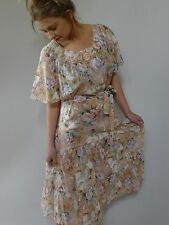 Vintage true 1970s L unused sheer floral cotton midi hippy dress NWOT