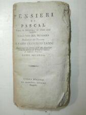Raro Introvabile antico libro Pensieri di Pascal 1831