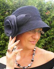 chapeau pour femmes de 30 BLEU CLOCHE Occasions MARIAGE Protection Solaire chic