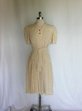 Vintage 1940s Red Polka Dot with Heart Button Swing Dress Small/Medium