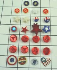 Plastic Realty Buttons Patriotic Red White Blue Stars Flags Set of 26 Vintage