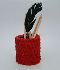 RED color Skull Pen Pencil  Makeup Brush Holder Organizer Goth Halloween