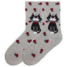 """Cat Socks """"Cat & Roses"""" Grey Socks from K Bell * Slightly larger fit"""