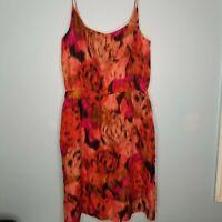J.Crew Sz Small Red Pink Silk Spaghetti Strap Dress Womens 3/4Back Zip+free gift