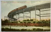 Elevated RR Curve At 110th Street New York NYC Vintage Postcard Train Track