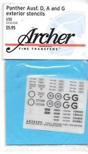 Archer Panther Ausf. D, A and G Exterior Stencils Dry Transfers 1/35 350 ST