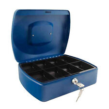 10 Inch Blue Secure Steel Petty Cash Money Box Tin Lockable Storage Safe KF02624