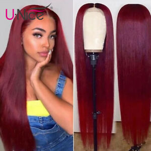 """Brazilian Straight Human Hair Lace Part Front Wig Burgundy Color 99J Full 20"""" US"""