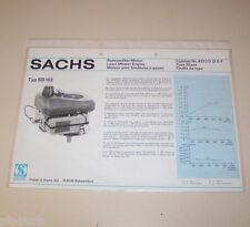 Typenblatt / Technische Daten Sachs Rasenmäher Motor SB 102 - Stand 1978!