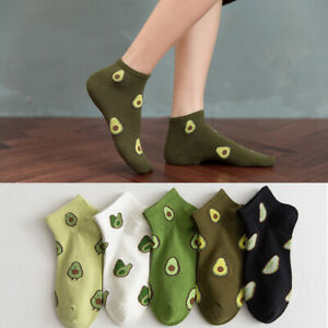 Womens Boat Socks Avocado Embroidery Cotton Socks Short Ankle Socks Breathable