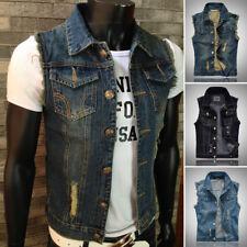 Mens Causal Jacket Denim Vest Jean Coat Cool Collar Sleeveless Shirt Biker Plus