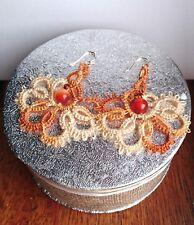 Handmade tatted in frivolite Earrings, Amber stone, Czech  seed beads