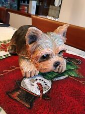 Adorable life-like Yorkshire terrier dog Yorkie med size new !