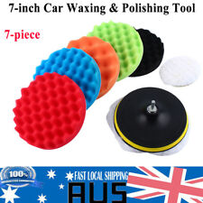 "7Pcs 7"" Sponge Polishing Waxing Buffing Pads Kit Car Beauty +M14 Drill Adapter"