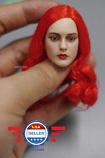 Custom 1/6 Scale RED hair Pretty Lady Head Sculpt for SUNTAN Phicen