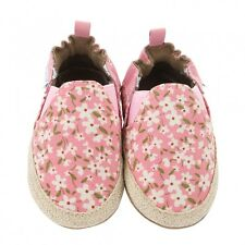 ROBeeZ Ultra-Soft Canvas Suede Leather Crib Shoes Infant Girls Floral 12-18M NIB