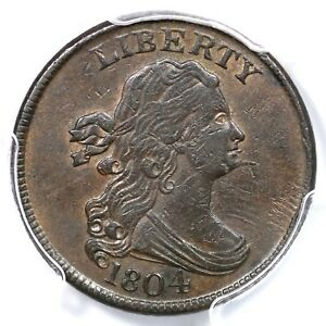 1804 C-6 R-2 PCGS AU 50 Spiked Chin Draped Bust Half Cent Coin 1/2c