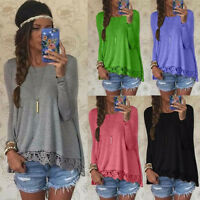 New Womens Long Sleeve Casual Lace Loose Blouse Shirt T Pullover Crewneck Tops