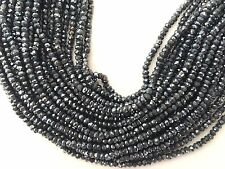 "13.5"" STRAND AAA 3.5MM FACETED MYSTIC BLACK SPINEL RONDELLE BEADS"
