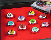 New Set of 10 pcs Rings NARUTO Akatsuki member Cosplay Halloween Gift