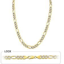 "Pave Men's Figaro Chain Polished Necklace 8.00mm 24"" 64.50gm 14k Gold Two Tone"