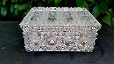 """Vintage Daisy & Button Crystal Dresser/Tabaco Box W/Lid 3 3/4"""" W x 5"""" L x 2¼"""" T"""