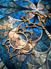 Ethnic Tribal Indian Brass earrings Hippy Boho Goa Gold mandala lotus India