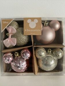 Primar Disney 4 Mickey Minnie Mouse Xmas Tree Baubles Decorations Rose Gold Pink