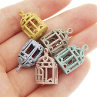 10pcs Mixed Colorful Alloy Hollow Bird Cage Shaped Charms Pendants Crafts 53059