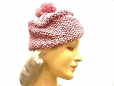 Vintage  Knit Hat Dusty Rose Pink w PomPom Metallic Hand-Knit 1940S Womens