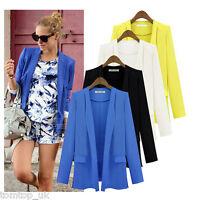 Fashion Women Candy Color Long Sleeve Slim Suit Jacket Blazer Coat 4 Colors S-XL