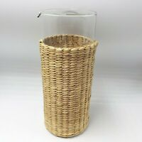 Glass Water Beaker Carafe Pitcher Woven Seagrass Wicker Bedside Wine Patio