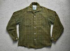 Vtg 50s AWARD GROUP Green Plaid Wool Loop Collar Shirt Rockabilly Western 15 S/M