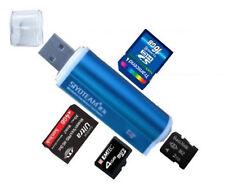 [ BLAU ] Mini Alu Kartenleser USB 2.0 Micro SD MMC SDHC M2 Card Reader Adapter