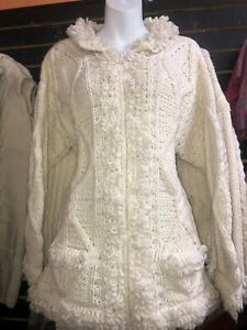 Vintage Ecuador Wool Sweater Jacket Hand Knit Ivory Full Zip